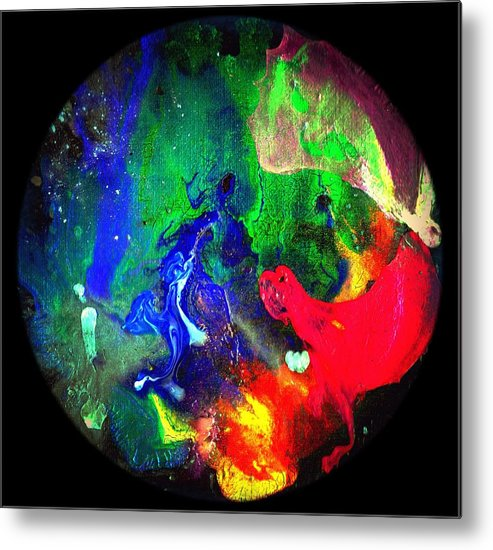 Round Metal Print featuring the painting Abstract - Evolution Series 1002 by Dina Sierra