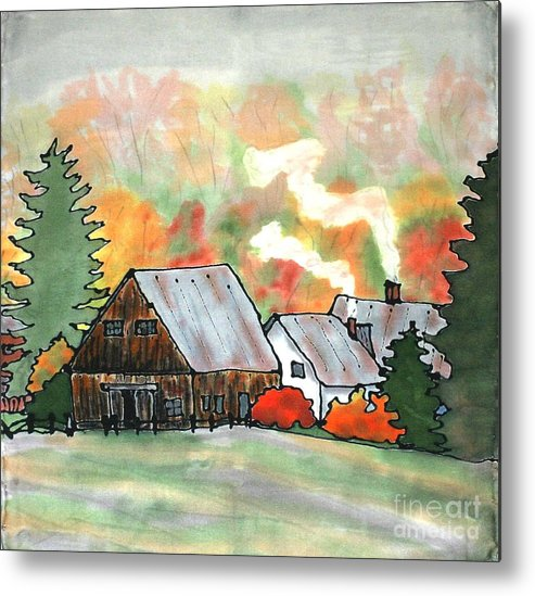 Vermont Metal Print featuring the painting Autumn Chill Silk Painting by Linda Marcille