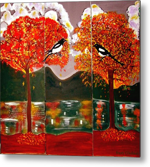 Landscape Metal Print featuring the painting Autumn Trilogy by Rusty Gladdish