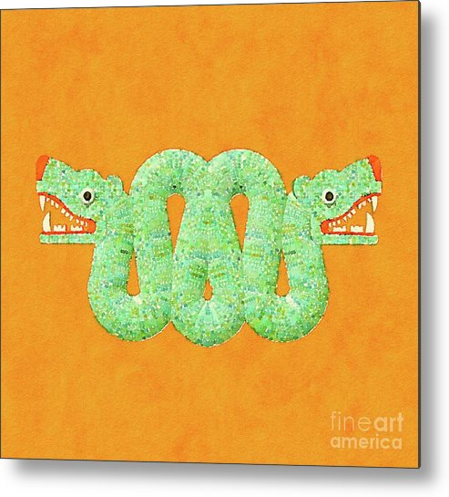 Aztec Metal Print featuring the painting Aztec Serpent by Pierre Blanchard