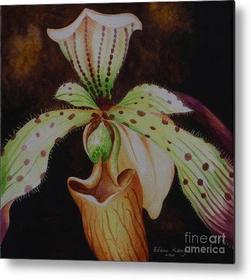 Orchid Metal Print featuring the painting Borneo Orchid P Lebaudyanum by Edoen Kang