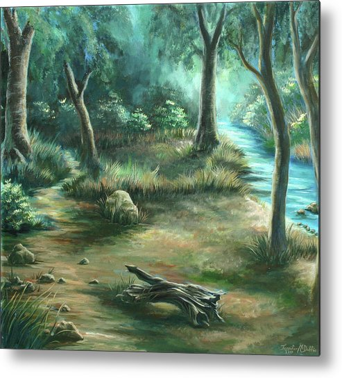 Landscape Metal Print featuring the painting Camping At Figueroa Mountains by Jennifer McDuffie