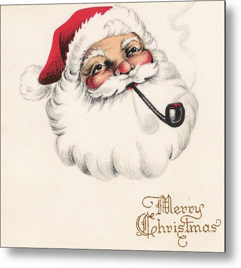 Santa Claus With Pipe Metal Print featuring the painting Christmas Greetings 1229 - Vintage Christmas Cards - Santa Claus With Pipe by TUSCAN Afternoon