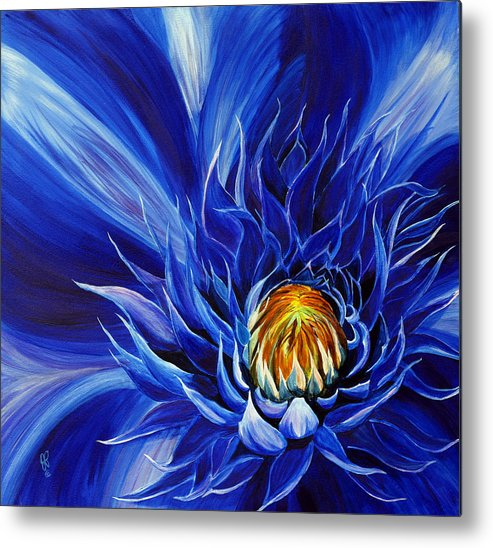 Macro Flower Metal Print featuring the painting Electric Blue by Julie Pflanzer