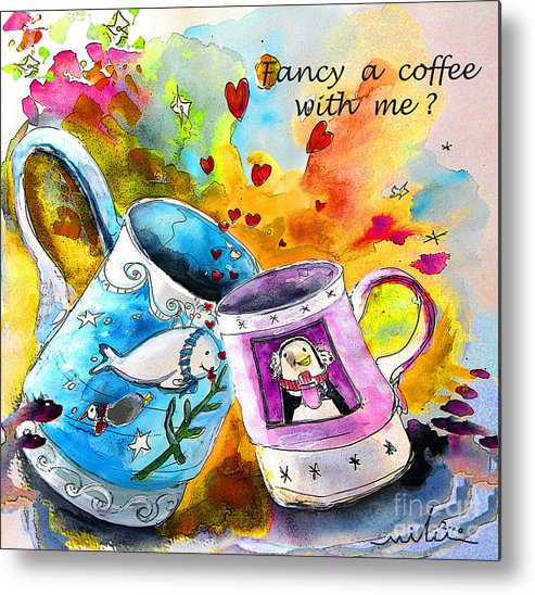 Cafe Crem Metal Print featuring the painting Fancy A Coffee by Miki De Goodaboom