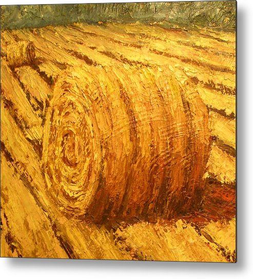 Art Sale Metal Print featuring the painting Haybale II by Jaylynn Johnson