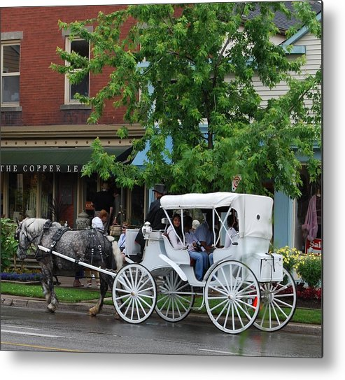 Horse And White Buggy Metal Print featuring the photograph Horse And White Buggy by Nancy Bradley