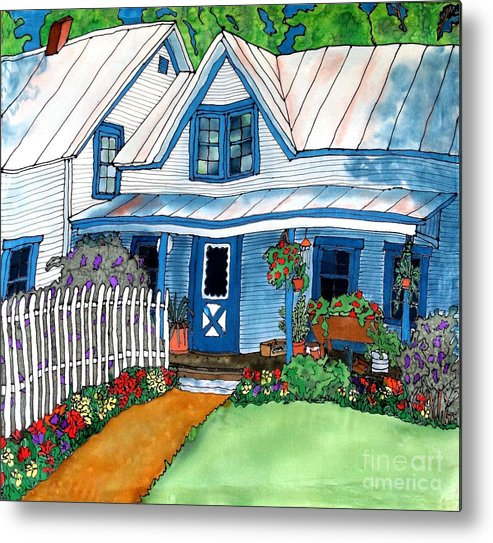 Church Metal Print featuring the painting House Fence And Flowers by Linda Marcille