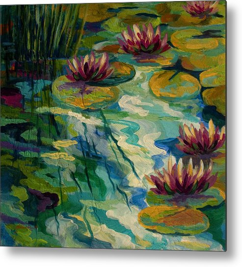 Water Lily Metal Print featuring the painting Lily Pond II by Marion Rose