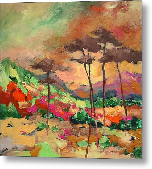Landscape Metal Print featuring the painting Moment Of Serenity by Linda Monfort
