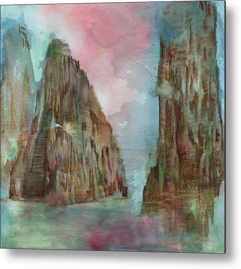 Landscape Metal Print featuring the painting Mountain Temple by Bruce Sanborn