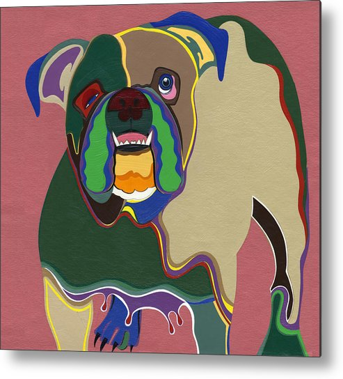 Dogs Metal Print featuring the painting Ms Diva The English Bulldog by Ruby Persson