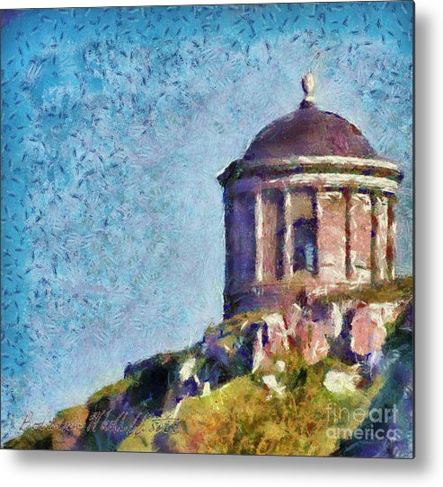 Landscape Metal Print featuring the painting Mussenden Temple by Bodriana MacAllister