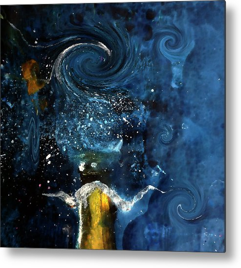 Champagne Metal Print featuring the digital art Pop The Champagne Top By Lisa Kaiser by Lisa Kaiser