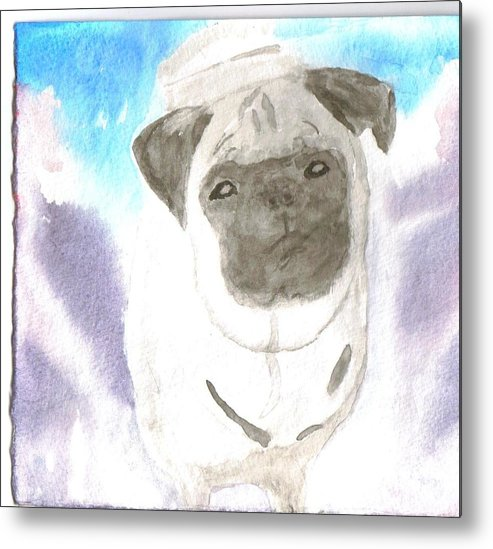 Pug Dog Watercolor Metal Print featuring the painting Pug by Warren Thompson