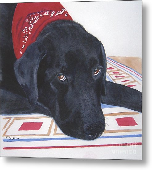 Black Metal Print featuring the painting Red Bandana by Teresa Boston