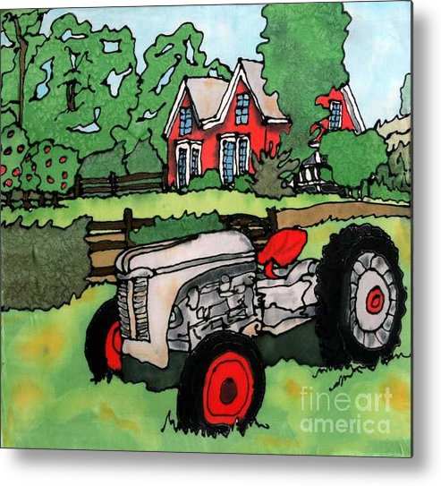 Silk Metal Print featuring the painting Red House And Tractor by Linda Marcille