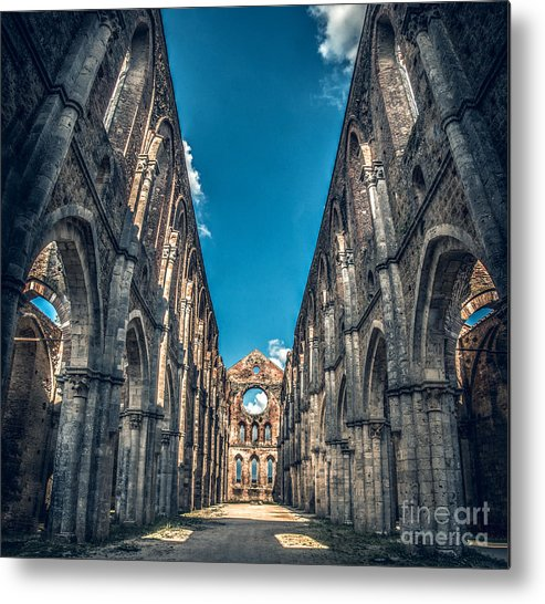 Abbazia Metal Print featuring the photograph San Galgano Church Ruins In Siena - Tuscany - Italy by Luca Lorenzelli