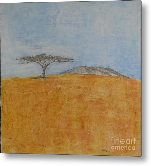 Abstract Desert Scene Metal Print featuring the mixed media Serengeti by James SheppardIII