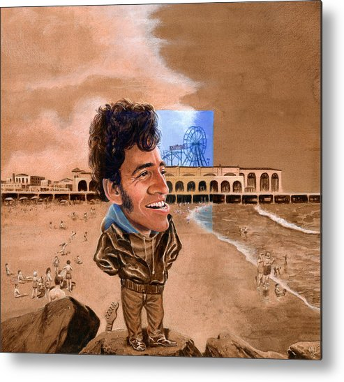 Bruce Springsteen Metal Print featuring the painting Springsteen On The Beach by Ken Meyer