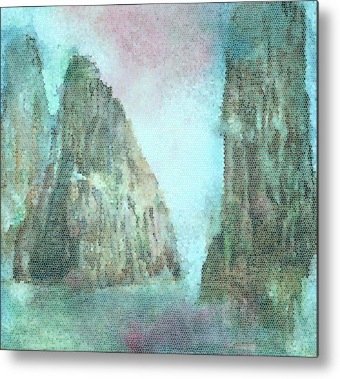 Stained Glass Metal Print featuring the painting Stained Glass Mountain Temple by Bruce Sanborn