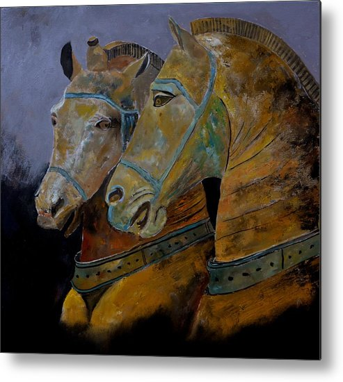 Animal Metal Print featuring the painting Two Horses by Pol Ledent