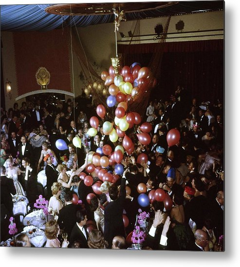 Timeincown Metal Print featuring the photograph Balloons Dropping On Guests During New Y by Loomis Dean