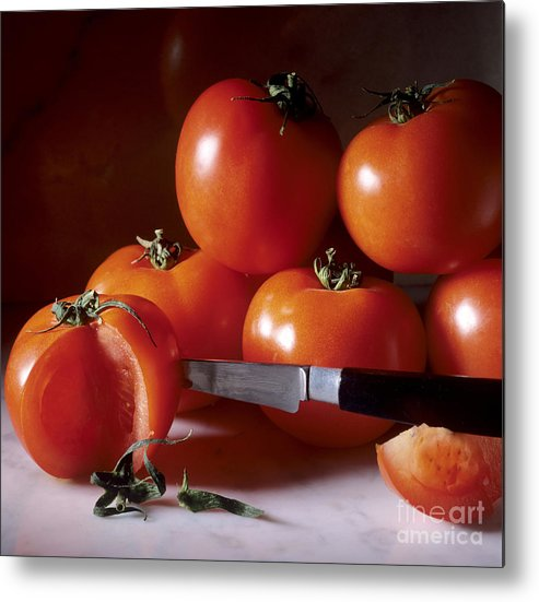 Cut Food Indoors Indoor Inside Knife Knives Nobody Nutrition Sharp Sliced Solanum Lycopersicum Metal Print featuring the photograph Tomatoes And A Knife by Bernard Jaubert