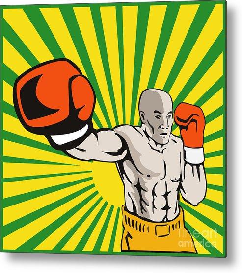 Boxer Metal Print featuring the digital art Boxer Boxing Jabbing Front by Aloysius Patrimonio