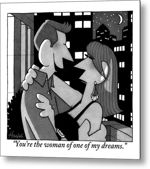 Love Scenes Metal Print featuring the drawing A Man Is Embracing And Speaking To A Woman by William Haefeli