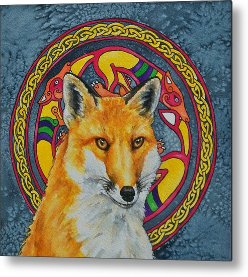 Celtic Metal Print featuring the painting Celtic Fox by Beth Clark-McDonal