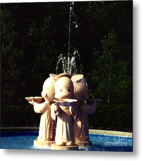Precious Metal Print featuring the photograph Faux Precious Moments Fountain by Margaret Newcomb