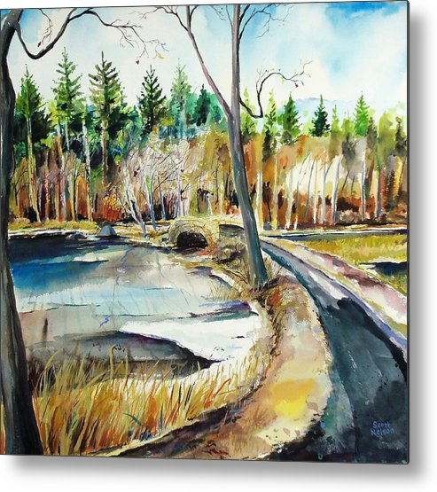 Hopedale Metal Print featuring the painting Hopedale January Thaw by Scott Nelson