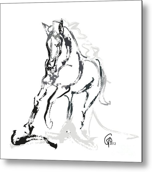 Running Horse Metal Print featuring the painting Horse- Andalusian Angel by Go Van Kampen