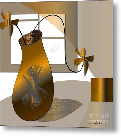 Vase Metal Print featuring the digital art House Warming by Iris Gelbart