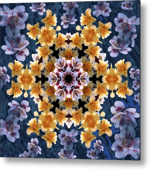 Mandala Metal Print featuring the digital art Mandala Alstro by Nancy Griswold