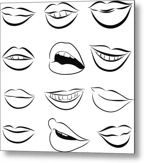 Pop Art Lips Drawing Black And White