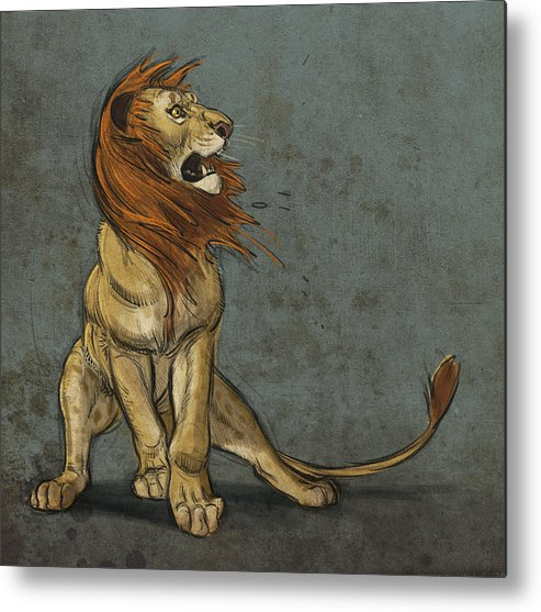 Lion Metal Print featuring the digital art Threatened by Aaron Blaise