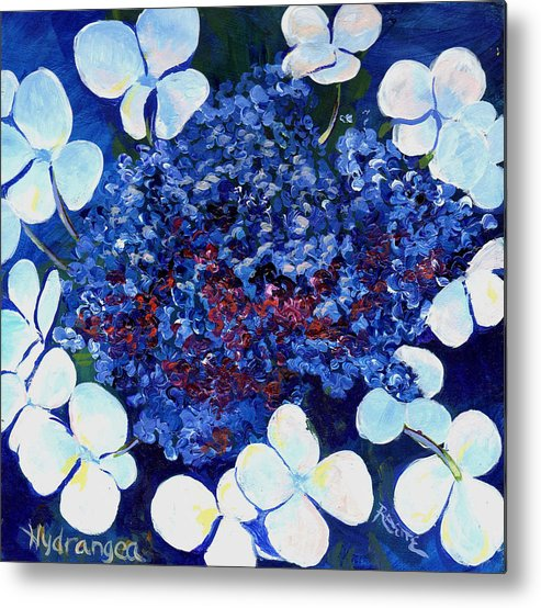 Hydrangea Metal Print featuring the painting Hydrangea by Raette Meredith