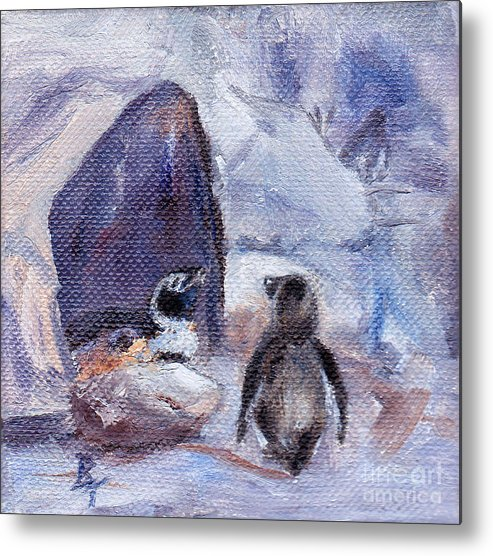 Penguins Metal Print featuring the painting Nesting Penguins by Brenda Thour