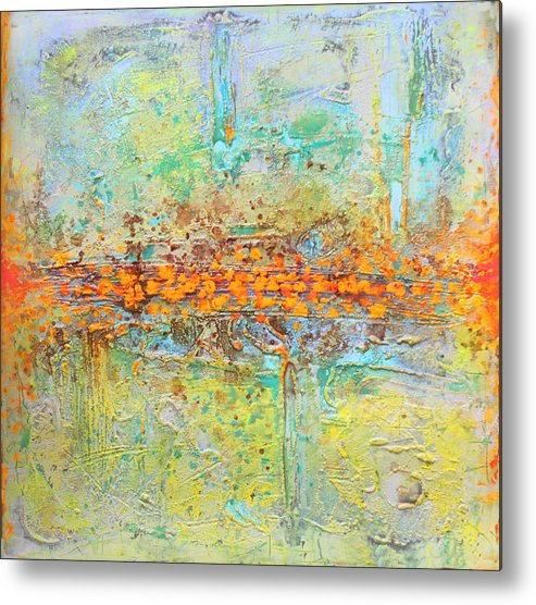 Abstract Metal Print featuring the tapestry - textile Orange Intenference by Lolita Bronzini