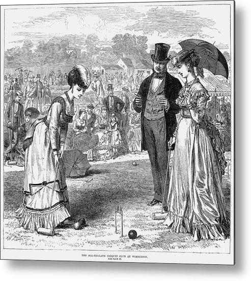 1870 Metal Print featuring the photograph Wimbledon: Croquet, 1870 by Granger