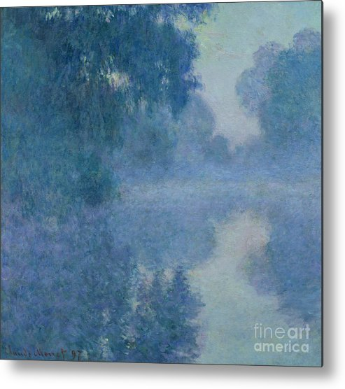Impressionist; River; Reflection; Fog; Foggy; Misty; Mist; Branch; Seine; Giverny; Claude Monet; Monet; Tree; Trees Metal Print featuring the painting Branch Of The Seine Near Giverny by Claude Monet