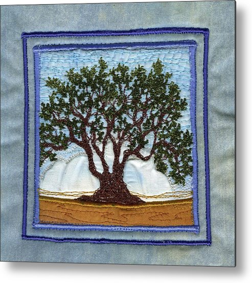 Tree Metal Print featuring the tapestry - textile Lotus by Dottie Moore
