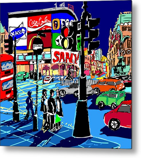Cityscapes Semi Abstract Painting London Cityscape Prints Metal Print featuring the painting Piccadilly Blues by Ralf M Broughton