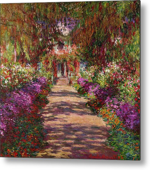 Pathway Metal Print featuring the painting A Pathway In Monets Garden Giverny by Claude Monet