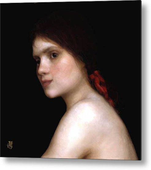 Portrait Of A Young Woman. Metal Print featuring the digital art Angela's Ribbon by John Helgeson