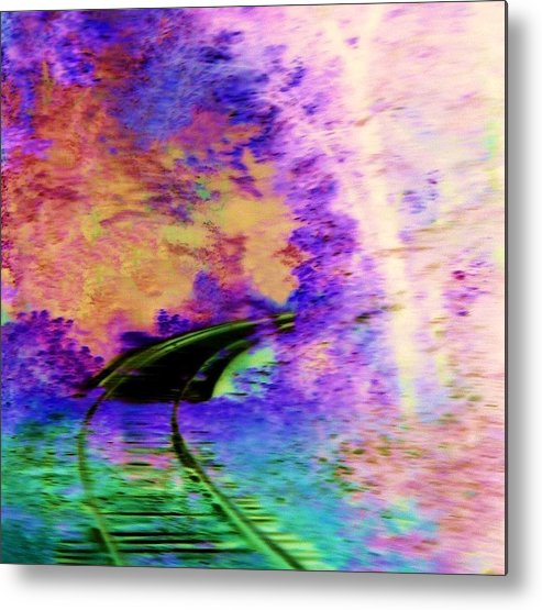 Railroad Tracks Metal Print featuring the digital art Around The Bend by Kenna Westerman