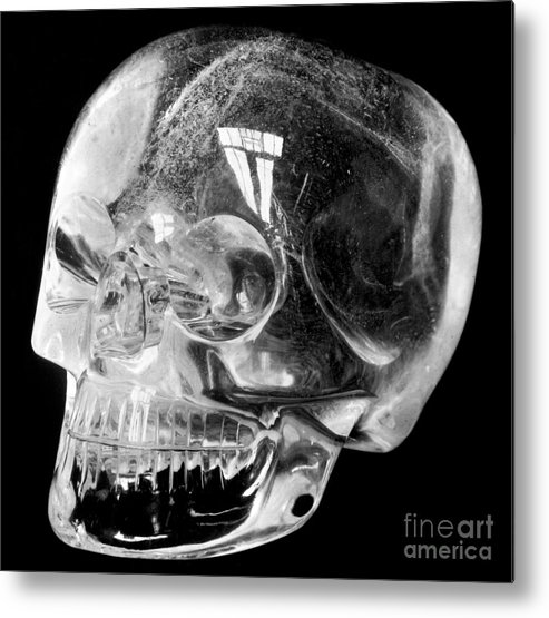 15th Century Metal Print featuring the photograph Aztec Rock Crystal Skull by Granger
