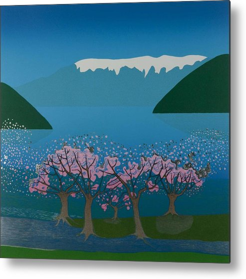 Landscape Metal Print featuring the mixed media Blossom In The Hardanger Fjord by Jarle Rosseland